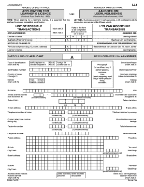 Learners Licence Application form LL1
