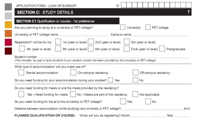 nsfas application forms - sectionC