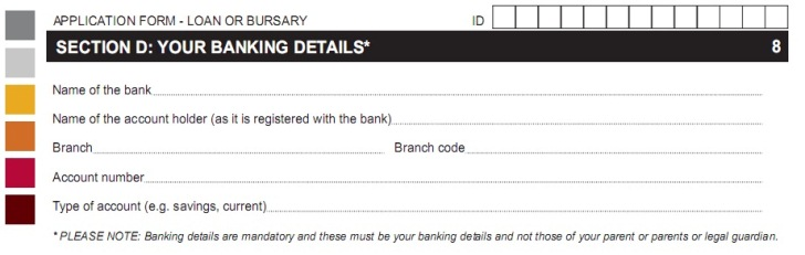 nsfas application forms - sectionD_banking details
