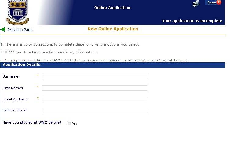 university of the western cape (uwc) online admission application 2021